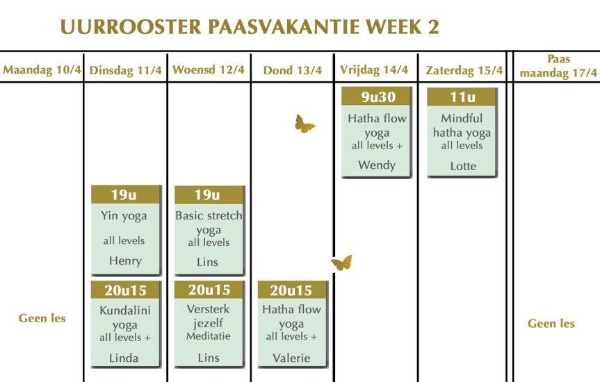 Uurrooster paasvakantie 2017 week 2