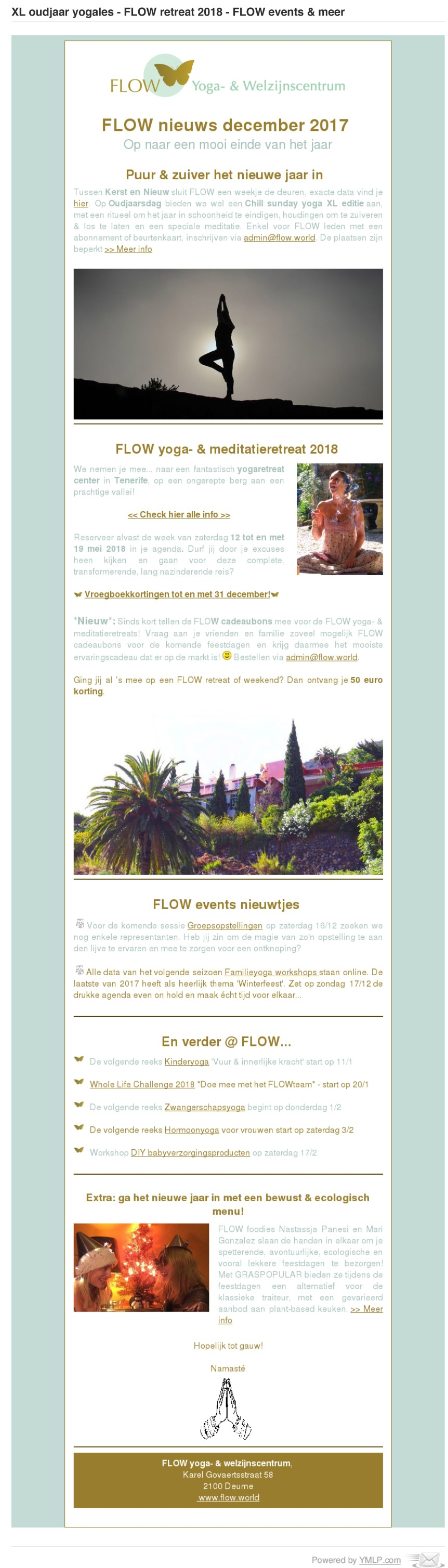 XL oudjaar yogales - FLOW retreat 2018  -  FLOW events & meer